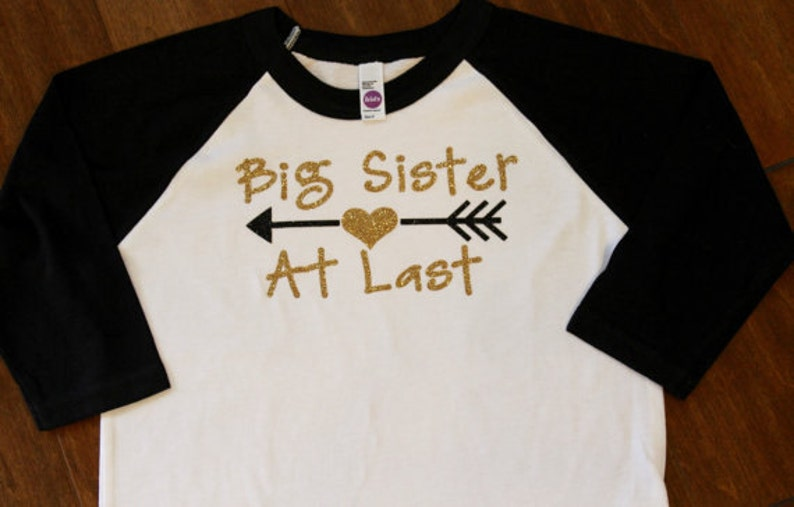 Big Sister At Last T-shirt or Onesie Pregnancy Reveal Photo image 0