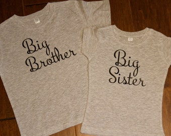 Big Brother shirt, Big sister shirt, Big Sister Big brother shirt set. Big Brother, Big Sister, Big Brother, Little Sister
