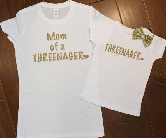 Three Birthday Shirt Mom And Daughter Set