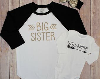 Big Sister, Little Mister, Big Sister and Little Mister Shirt Set, New Baby, Pregnancy Announcement, Big Sister, Little Brother