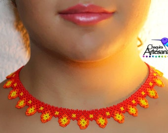 Red Choker necklace - necklace red-Collar crafts-color Huichol-Estilo Huichol-jewelry Mexicano-hecho in mexico