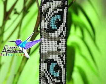 Eyes of white tiger - Bengal tiger bracelet - bracelet bracelet Tiger-Artesanía Mexicana-jewelry Mexicana-Chaquira craft