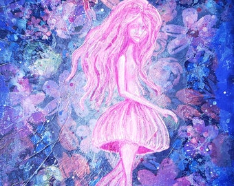 Clearance - Luminescent: A Jellyfish Mermaid Mixed-Media Painting by Little Miss Tyne