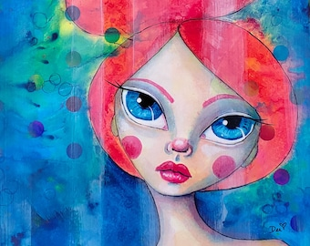 Welcome to the Carnival, a Little Miss Tyne Mixed Media Painting