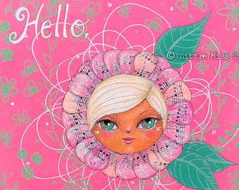 SALE - Hello Spring, a Little Miss Tyne Mixed Media Painting