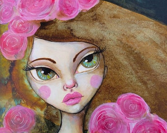 Her Softer Side, a Little Miss Tyne Acrylic Ink Painting