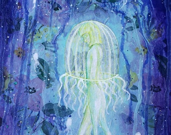 Clearance - Still: A Jellyfish Mermaid Mixed-Media Painting by Little Miss Tyne