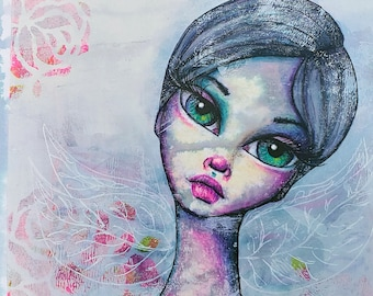 She Realized Her Wings Were There All Along, a Little Miss Tyne Mixed Media Painting