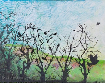 SALE - Silhouetted In My Mind, a Little Miss Tyne Mixed Media Landscape Painting