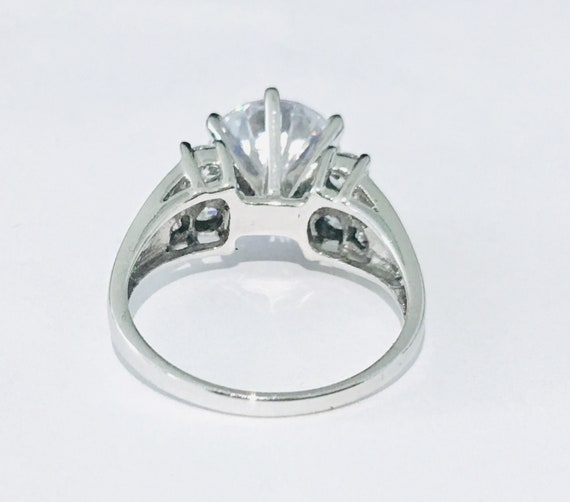 3.80 Ct Near White Princess Cut Moissanite Engagement Ring 10k White Gold