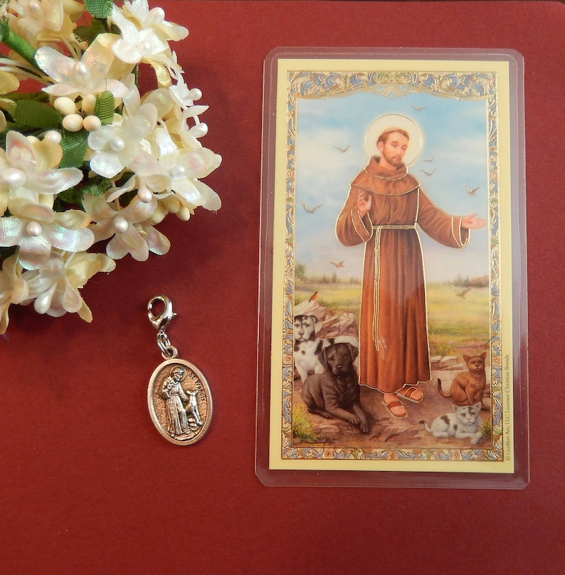 St  Francis of Assisi Charm with Clasp and Pet Prayer Card Set , Patron  Saint of Animals (One Charm/One Card)