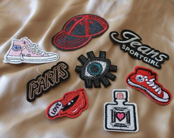 IRON ON little size patches set of 8