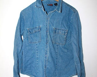 NYJEANS Vintage denim shirt blue tee shirt long sleeve size L