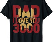 marvel iron man dad i love you 3000 text fill father 39 s day t shirt
