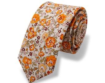 BRUCE Wedding Tie. Yellow Floral Tie. Vintage Floral Tie. Skinny Mens Tie