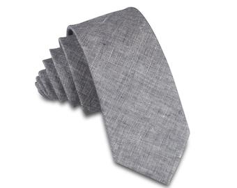 Grey Chambray Men's necktie, Skinny Necktie, Gray tie, Skinny Tie, Skinny Mens Tie, Skinny tie, Linen Skinny Tie.