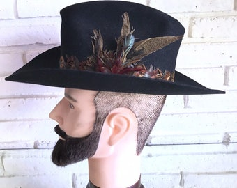 39aa2f149efa3 Vintage Miller Bros. Black Beaver Cowboy hat with feather band Men s  Country Western Style Roper Rodeo Hat