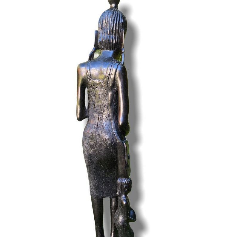 Vintage African Woman and Child Wood Carving 34\u201d Large Dark Wood Hand Carved Afrocentric Home Decor Sculpture