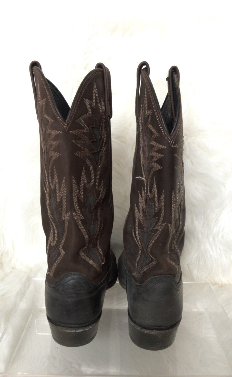 Mens Vintage Dan Post Cowboy Boots Size 9.5 D Distressed Black And Brown Western Boots