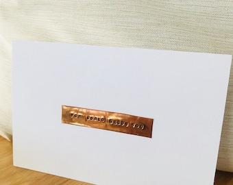 1 copper stamped postcard