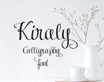 Digital font, Kiraly font duo, calligraphy font, hand lettered typeface, Commercial use, TTF, OTF, Instant Download