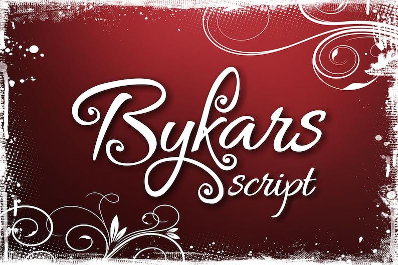 Bykars font, handwritten font, hand lettered typeface, Commercial use,  Digital download, TTF, OTF, Instant Download