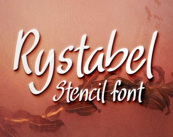 Rystabel font, handwritten stencil typeface, silhouette font, craft font, Commercial use, TTF, OTF, Instant Download