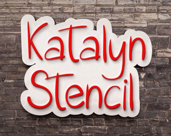 Katalyn Stencil font, handwritten stencil typeface, craft font, Commercial use, TTF, OTF, Instant Download