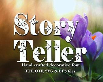 Storyteller font, svg, eps, otf, ttf, hand drawn typeface, hand sketched font, Commercial Download