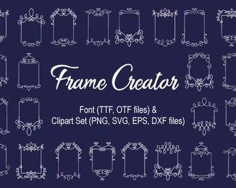 Frame Creator font and clipart set, png, svg, eps, dxf files, font download, font for crafters, TTF, OTF