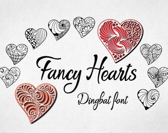Fancy Hearts Dingbat Font, Hand drawn hearts, hand crafted font, Commercial License, OTF, TTF