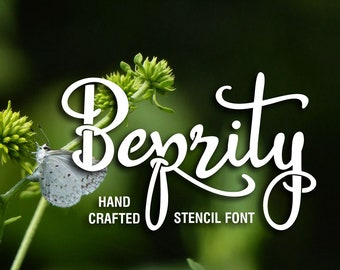 Beprity Stencil font, stencil font, handwritten typeface, craft font, Commercial use, TTF, OTF, Instant Download