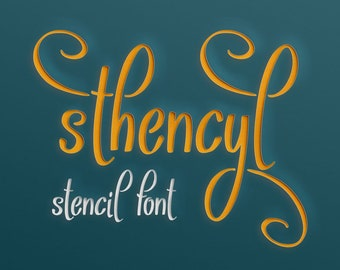 Sthencyl font, stencil font, handwritten typeface, craft font, Commercial use, TTF, OTF, Instant Download