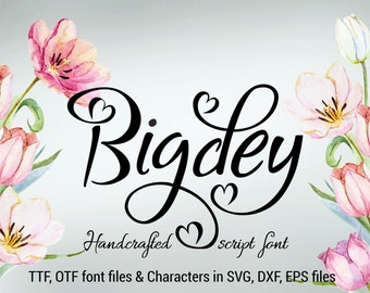 Bigdey font, ttf, otf, svg, dxf, eps, handwritten font, hand lettered typeface, Commercial use, Copyright protected font