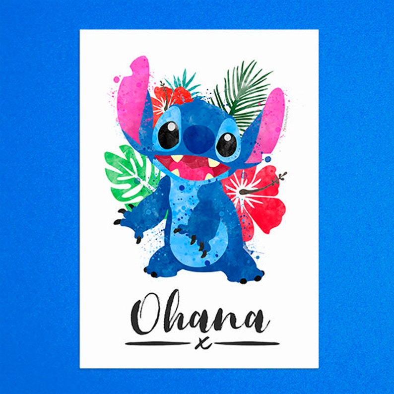 Ohana Alien Watercolour Quote Print Stitch Inspired  A5  A6 image 0