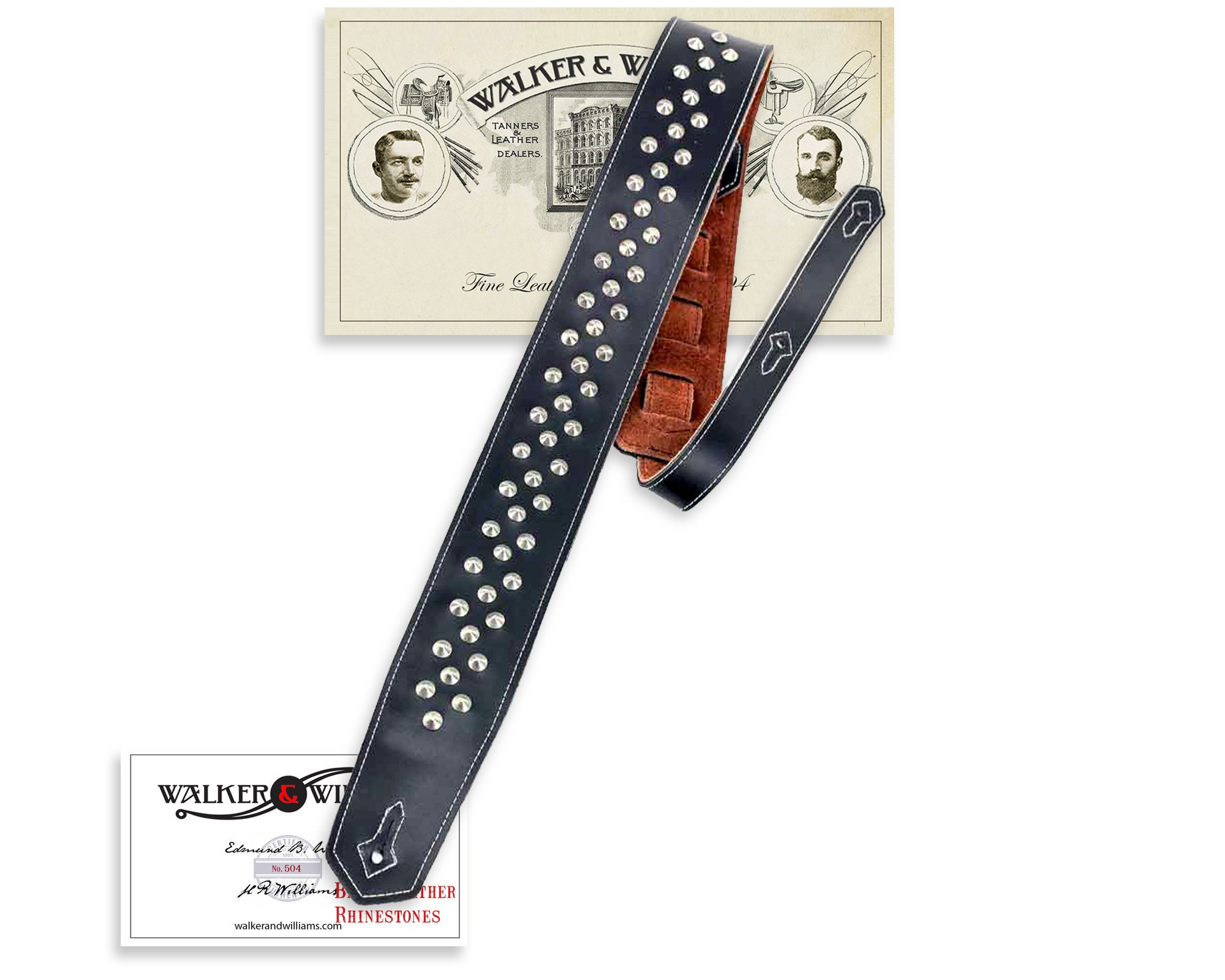 Walker /& Williams C-20 Custom Black with Brown Gothic Overlay Padded Leather Guitar Strap