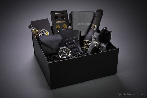 Men S Gift Box Complete Men S Gift Set Men S Watch Sunglasses Flask Tie Cufflinks Tie Clip Multi Tool Luxury Gift Box