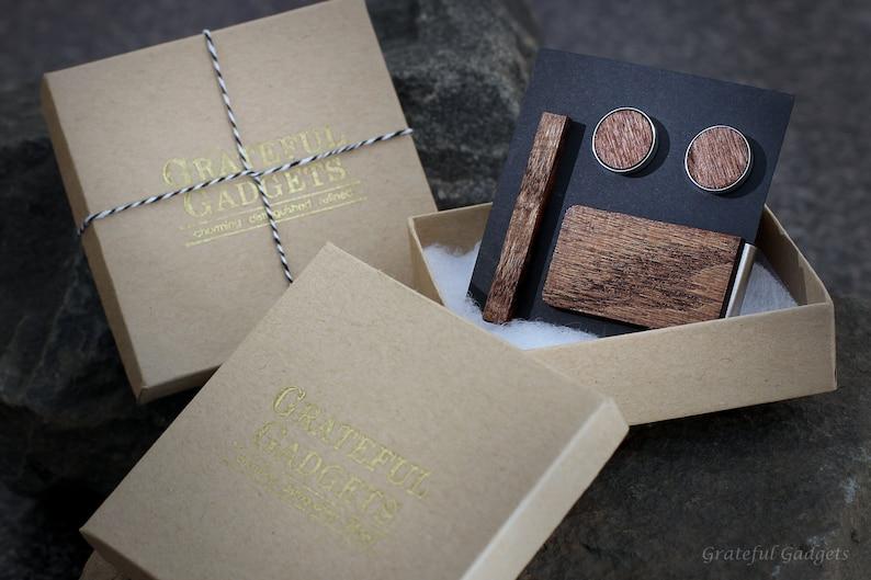 Best Man 5th Wedding Anniversary Present Groomsmen Cuff Links Hickory Smoked Wood Tie Clip Money Clip