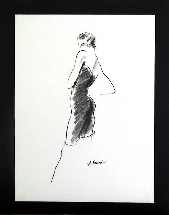 Black And White Minimalist Fashion Illustration Little Black Etsy