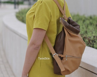Brown beige leather backpack woman, double side backpack bicolor leather backpack woman zipped top backpack, brown camel bag Roll men