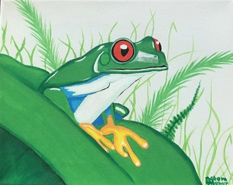 Hand painted canvas Sticky frog in a jack in the pulpit flower