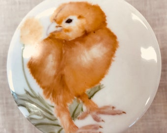 Handpainted chick on a decorative porcelain box