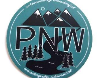 PNW sticker, pacific northwest collectible sticker, upper left,  unique sticker, gift, blue