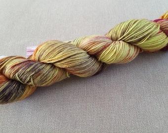 Alchemy: Handdyed Merino superwash fingering weight sock yarn.