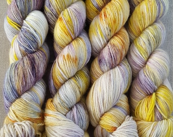 One of a Kind 2020: Handdyed Corriedale NON superwash fingering weight sock yarn.