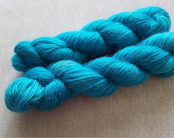 Icy Turquoise  sing co: Handdyed Wensleydale DK weight NON superwash yarn.
