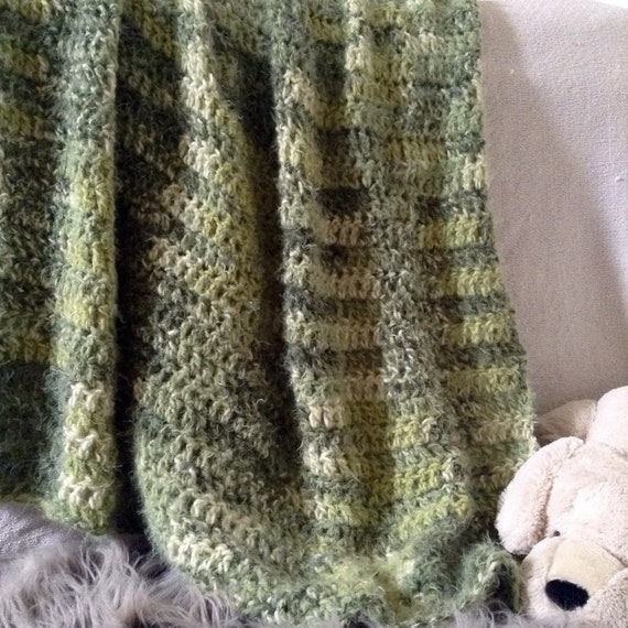 Soft Fluffy Green Crochet Blankets For Salegreen Decor Etsy