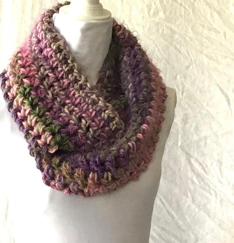Gorgeous Medley of Green Purple Pink Crochet Cowl Circular Infinity Scarf ChristmasGift Festive Fashion Versatile Woolly Autumn Winter Wear