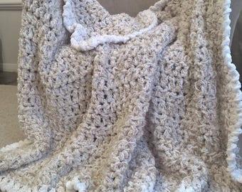 Luxurious Latte White Large Crochet Afghan,Soft Neutral Throw,Made to Order Crochet Blanket,Pearly White Crochet Afghan For Sale,Taupe Throw