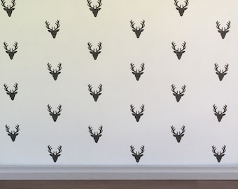 Stag Head Wall Decals - Removable vinyl wall decals/stickers